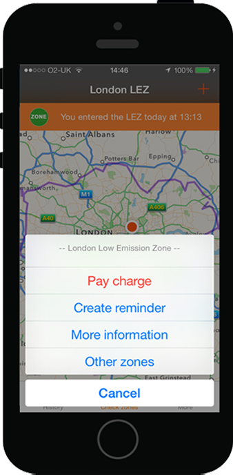 Pay the London Low Emission Zone Charge